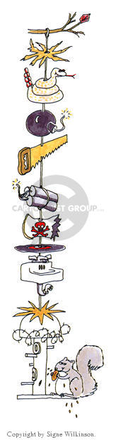 (No caption).  Squirrel eats at a bird feeder that has been rigged with several devices intended to prevent it from reaching the feeder.  They include a snake, a bomb, a saw, dynamite, pirate paraphernalia, a sink and barbed wire.