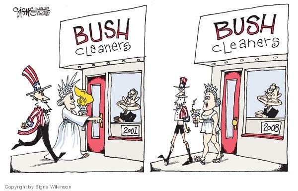 Cartoonist Signe Wilkinson  Signe Wilkinson's Editorial Cartoons 2008-11-24 George W. Bush