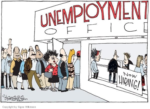 Cartoonist Signe Wilkinson  Signe Wilkinson's Editorial Cartoons 2009-03-13 unemployment
