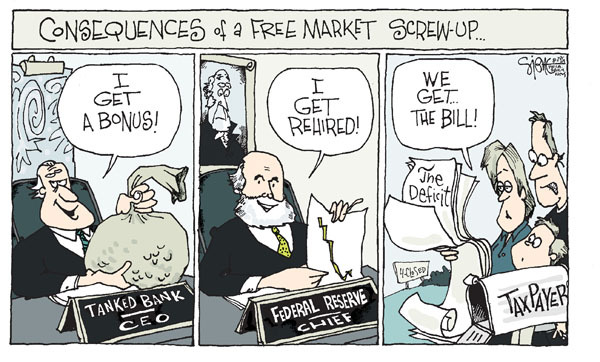 Signe Wilkinson  Signe Wilkinson's Editorial Cartoons 2009-08-28 executive compensation