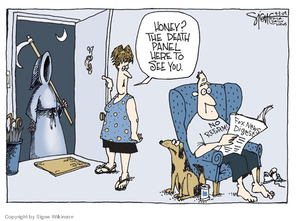 Cartoonist Signe Wilkinson  Signe Wilkinson's Editorial Cartoons 2009-09-03 health care reform opposition