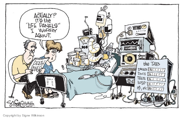 Cartoonist Signe Wilkinson  Signe Wilkinson's Editorial Cartoons 2009-09-08 health care reform opposition