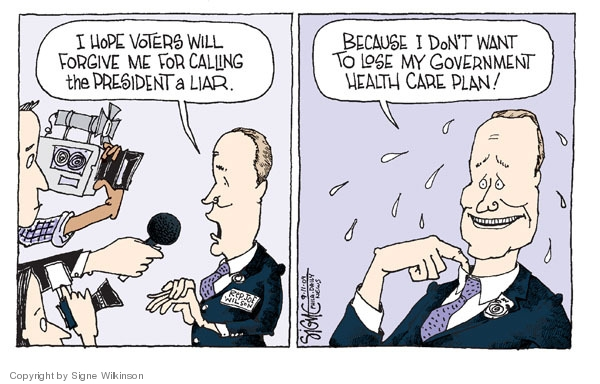 Cartoonist Signe Wilkinson  Signe Wilkinson's Editorial Cartoons 2009-09-11 health care plan