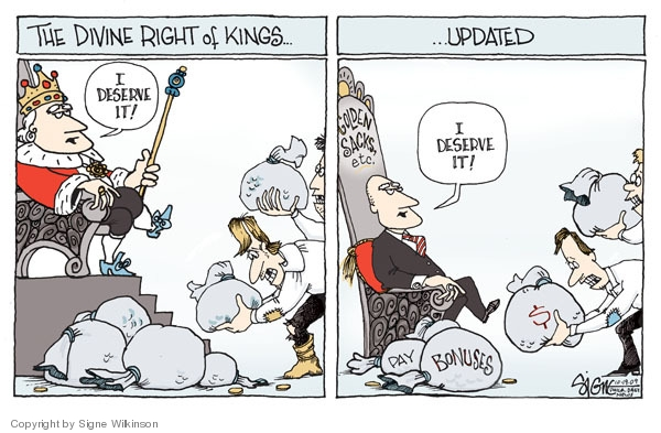 Signe Wilkinson  Signe Wilkinson's Editorial Cartoons 2009-10-19 executive compensation