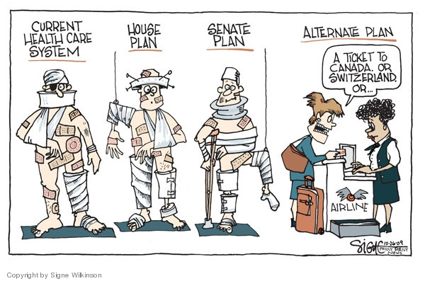 Cartoonist Signe Wilkinson  Signe Wilkinson's Editorial Cartoons 2009-10-26 health care plan