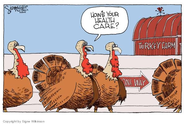 Signe Wilkinson  Signe Wilkinson's Editorial Cartoons 2009-11-25 Thanksgiving