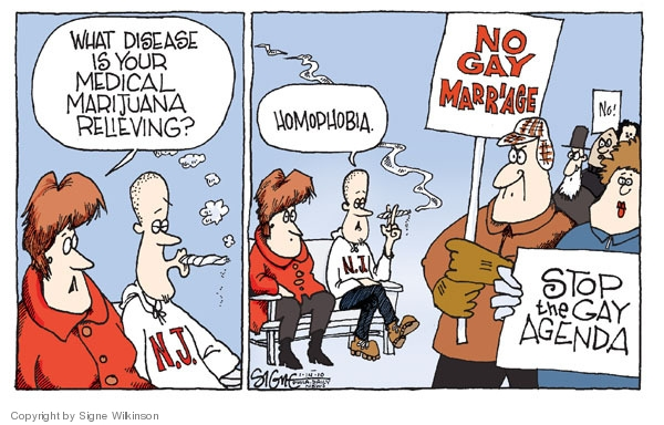 What disease is your medical marijuana relieving?  N.J.  Homophobia.  No gay marriage.  Stop the gay agenda.