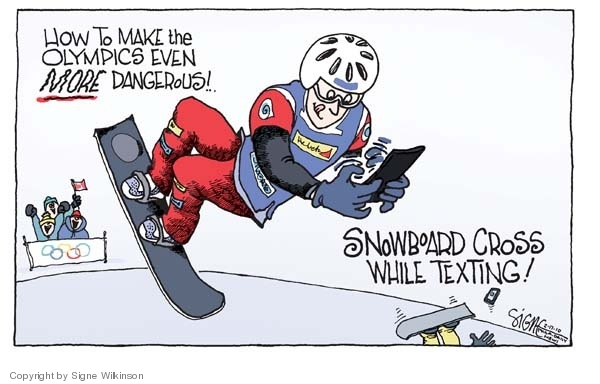 How to make the Olympics even more dangerous!  Snowboard cross while texting!