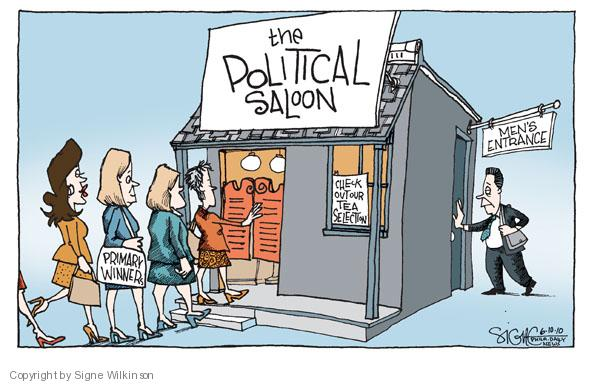 The Political Saloon. Primary winner. Check out our tea selection. Mens entrance.