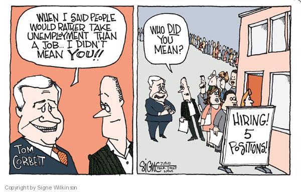 Signe Wilkinson  Signe Wilkinson's Editorial Cartoons 2010-07-19 employment benefits