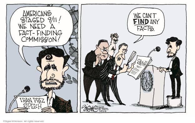 Signe Wilkinson  Signe Wilkinson's Editorial Cartoons 2010-09-27 Mahmoud Ahmadinejad
