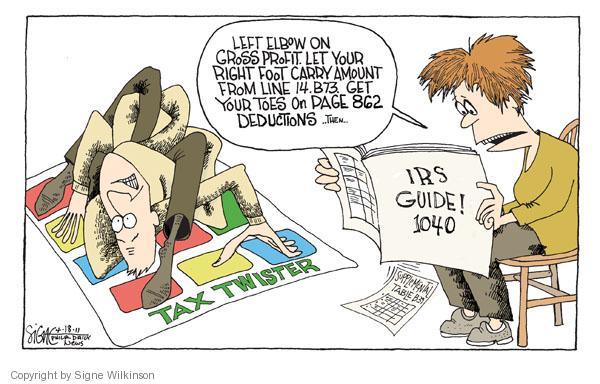 Signe Wilkinson  Signe Wilkinson's Editorial Cartoons 2011-04-18 tax deduction