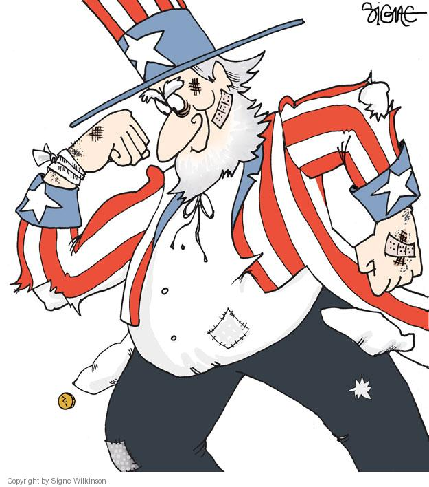 No caption.  (A bandaged and tattered Uncle Sam flexes his muscles.)