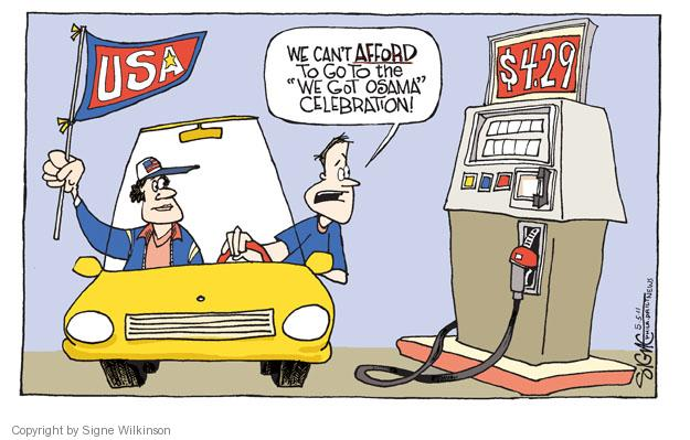 Cartoonist Signe Wilkinson  Signe Wilkinson's Editorial Cartoons 2011-05-05 cost