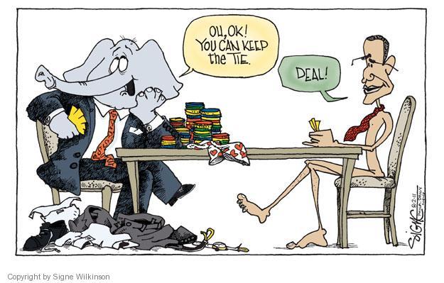 Signe Wilkinson  Signe Wilkinson's Editorial Cartoons 2011-08-02 Obama republicans