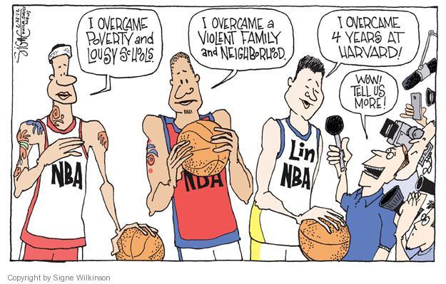 Cartoonist Signe Wilkinson  Signe Wilkinson's Editorial Cartoons 2012-02-23 basketball game
