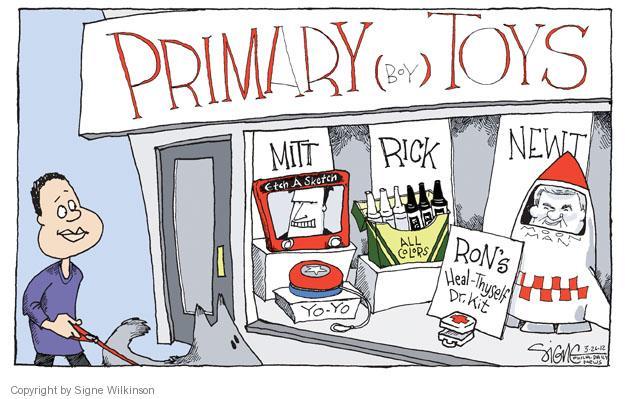 Cartoonist Signe Wilkinson  Signe Wilkinson's Editorial Cartoons 2012-03-26 presidential candidate