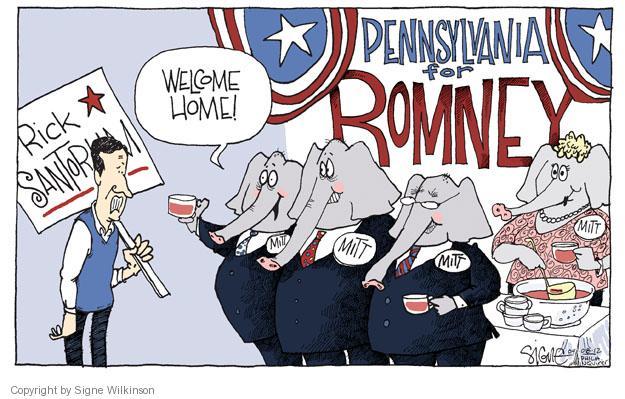 Cartoonist Signe Wilkinson  Signe Wilkinson's Editorial Cartoons 2012-04-08 presidential candidate
