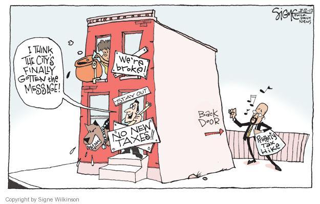 Cartoonist Signe Wilkinson  Signe Wilkinson's Editorial Cartoons 2012-03-12 property tax