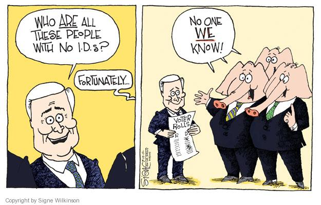 Signe Wilkinson  Signe Wilkinson's Editorial Cartoons 2012-07-10 voter identification