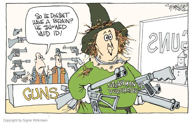 Cartoonist Signe Wilkinson  Signe Wilkinson's Editorial Cartoons 2012-10-17 weaponry