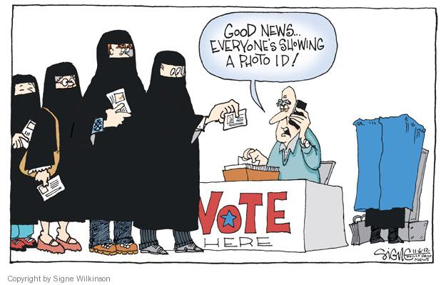Good news … Everyones showing a photo ID! Vote Here.