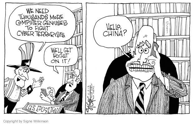 Cartoonist Signe Wilkinson  Signe Wilkinson's Editorial Cartoons 2013-02-05 cyber
