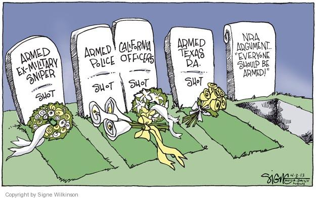 Signe Wilkinson  Signe Wilkinson's Editorial Cartoons 2013-04-03 assault weapon