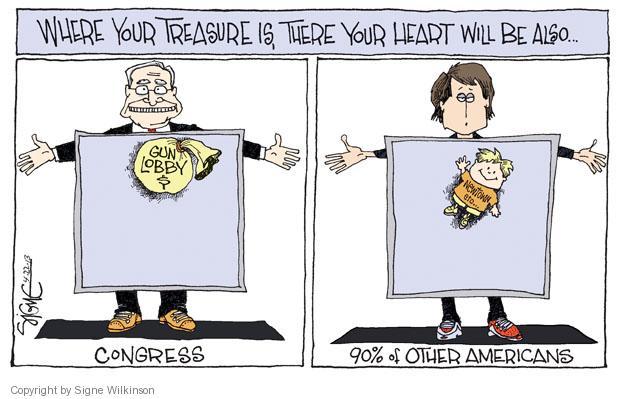 Cartoonist Signe Wilkinson  Signe Wilkinson's Editorial Cartoons 2013-04-22 gun rights