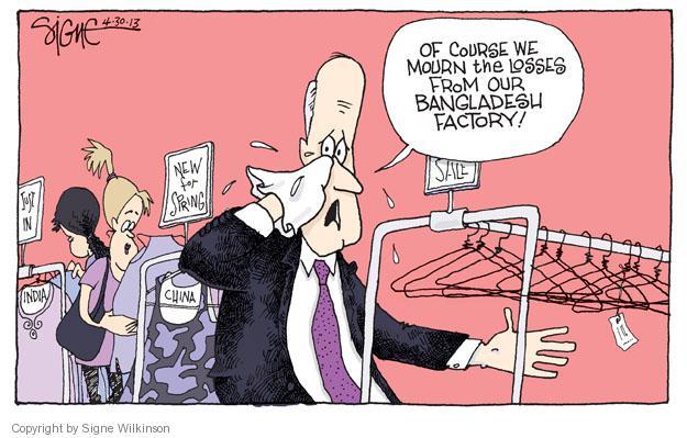 Signe Wilkinson  Signe Wilkinson's Editorial Cartoons 2013-04-30 working conditions