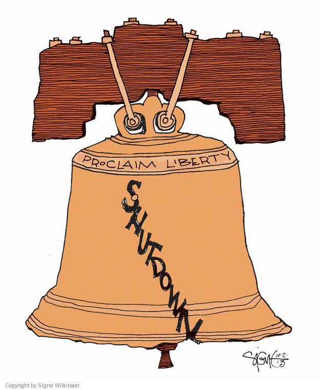 Cartoonist Signe Wilkinson  Signe Wilkinson's Editorial Cartoons 2013-10-03 shutdown