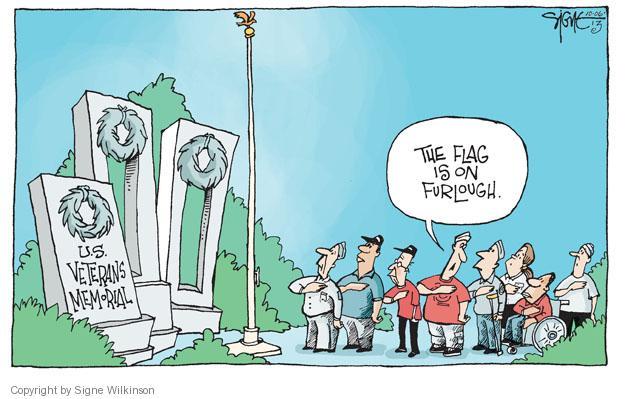 U.S. Veterans Memorial. The flag is on furlough.