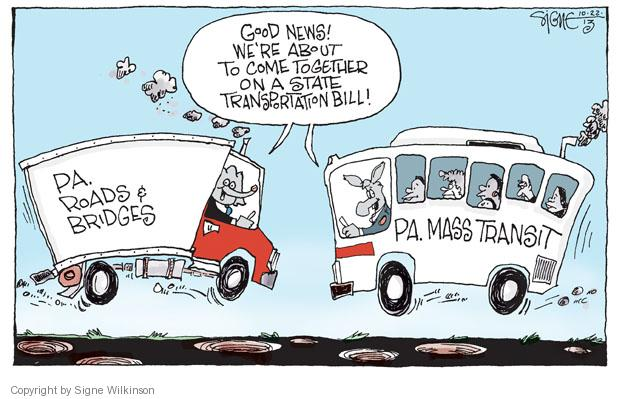 Cartoonist Signe Wilkinson  Signe Wilkinson's Editorial Cartoons 2013-10-22 transportation