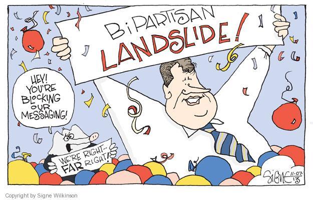 Cartoonist Signe Wilkinson  Signe Wilkinson's Editorial Cartoons 2013-11-07 gubernatorial