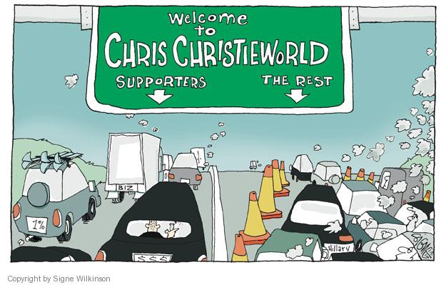 Welcome to Chris Christieworld. Supporters. The rest. Hillary. 1%. Biz. $$$.