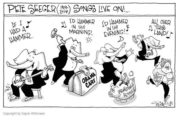 Signe Wilkinson  Signe Wilkinson's Editorial Cartoons 2014-01-31 2014 Obamacare