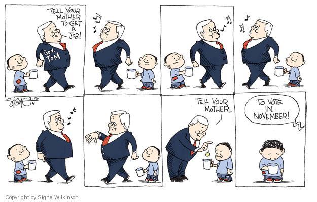 Cartoonist Signe Wilkinson  Signe Wilkinson's Editorial Cartoons 2014-03-16 gubernatorial