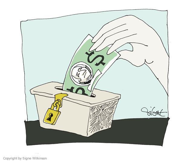 No caption. (A hand places a dollar bill into a ballot box).