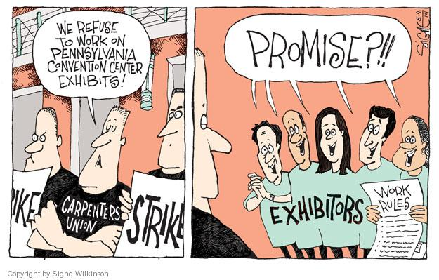 Cartoonist Signe Wilkinson  Signe Wilkinson's Editorial Cartoons 2014-05-04 strike