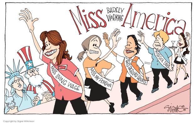 Signe Wilkinson  Signe Wilkinson's Editorial Cartoons 2014-09-09 employment benefits