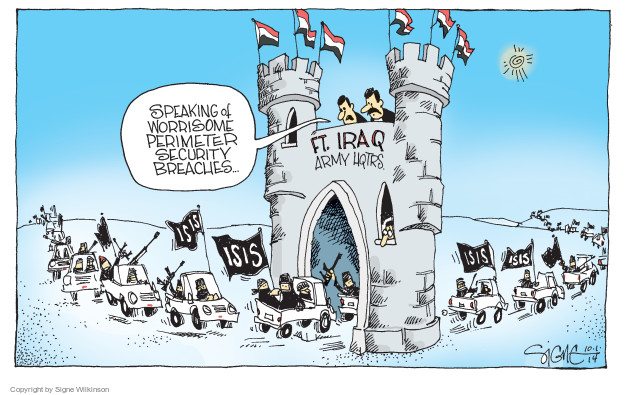 Speaking of worrisome perimeter security breaches … Ft. Iraq army hqtrs. ISIS.