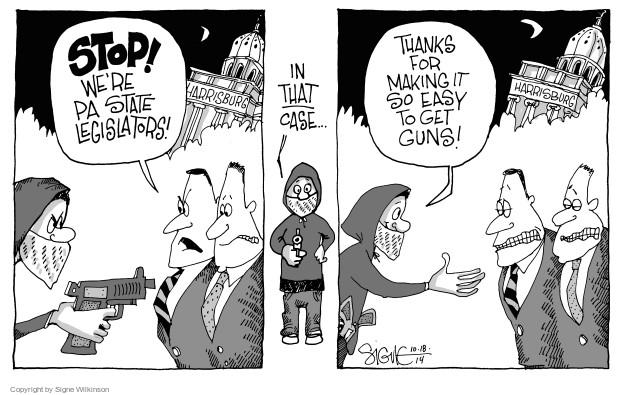 Cartoonist Signe Wilkinson  Signe Wilkinson's Editorial Cartoons 2014-10-18 gun rights
