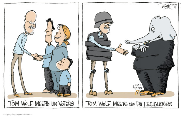 Cartoonist Signe Wilkinson  Signe Wilkinson's Editorial Cartoons 2014-11-06 Pennsylvania Governor
