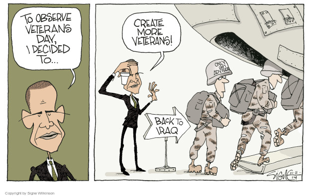Cartoonist Signe Wilkinson  Signe Wilkinson's Editorial Cartoons 2014-11-11 Iraq