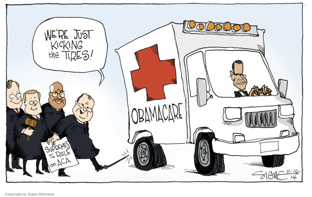 Cartoonist Signe Wilkinson  Signe Wilkinson's Editorial Cartoons 2014-11-16 affordable care act