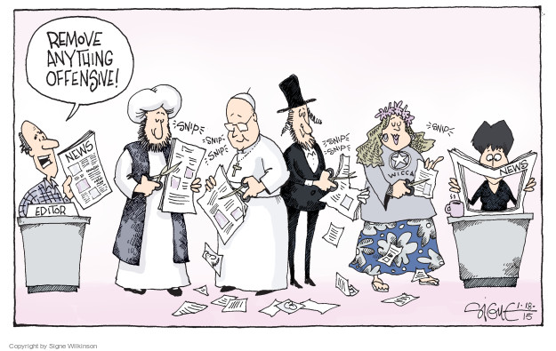 Signe Wilkinson  Signe Wilkinson's Editorial Cartoons 2015-01-18 freedom of the press