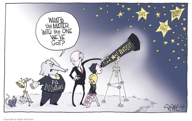 Cartoonist Signe Wilkinson  Signe Wilkinson's Editorial Cartoons 2015-03-05 Pennsylvania Governor