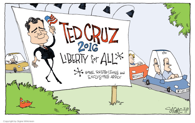 Cartoonist Signe Wilkinson  Signe Wilkinson's Editorial Cartoons 2015-03-24 civil liberty