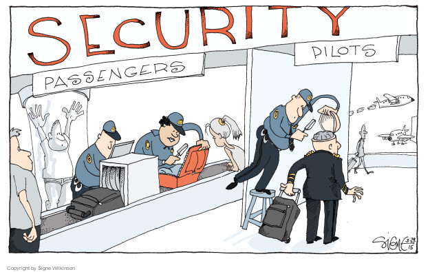 Cartoonist Signe Wilkinson  Signe Wilkinson's Editorial Cartoons 2015-03-29 airport security