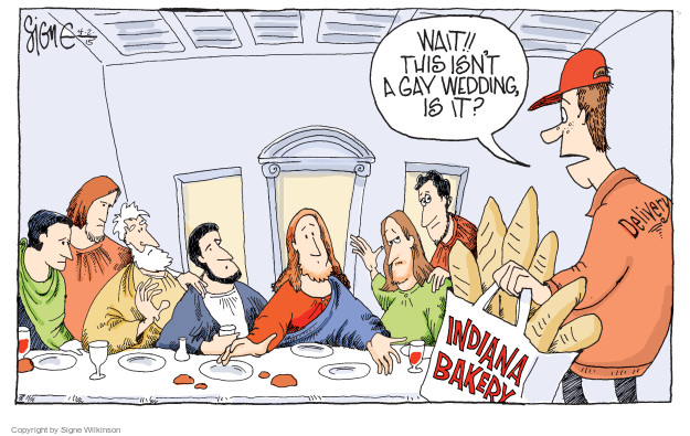 Wait!! This isnt a gay wedding is it? Indiana bakery. Delivery.